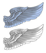 Wing in engraving style — Stock Vector