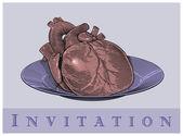 Heart on a plate (Invitation card) — Stock Vector