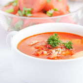 Chicken tomato soup — Stock Photo