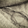 Grunge linen sack texture background — Stock Photo