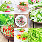 Food collection, salads — Stock Photo