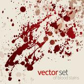 Splattered blood stains, set 3 — Stock Vector