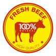 Fresh beef label — Stock Vector