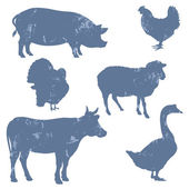 Farm animals, vector silhouettes — Stock Vector