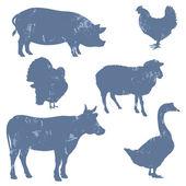 Farm animals, vector silhouettes — Stock Vector