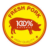 Fresh pork label — Stock Vector