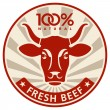 Label with the head of a cow — Stock Vector #12702308