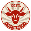 Label with the head of a cow — Stock Vector