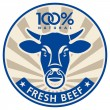 Label with the head of a bull - Stock Vector