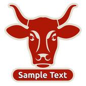 Logo avec la tête d'une vache — Vecteur