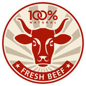 标签与一头母牛的头 — 图库矢量图片