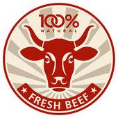 étiquette avec la tête d'une vache — Vecteur