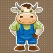 Сartoon cute bull - Stock Vector