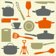 Kitchen utensils, vector silhouettes — Stock Vector