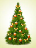 Christmas tree with balls and bows — Stock Vector