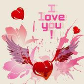 I love you vector card — Stock Vector