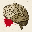 Human brain and a drop of blood - Stock Vector