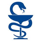 Pharmacy icon with caduceus symbol — Vettoriale Stock
