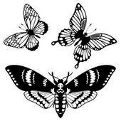 Set vettoriale delle sagome di farfalla — Vettoriale Stock