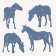 Horse silhouettes with grunge effect - Stock Vector