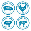 Set of fresh meat labels - Stock Vector