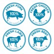 Set of fresh meat labels — Stock Vector
