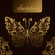 Invitation with golden butterfly - Image vectorielle