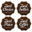 Stock Vector: Best Seller Choice Price Offer Labels