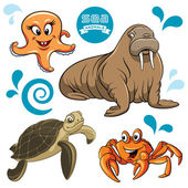 Sea Animals — Stock Vector