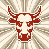 Label with a Bull — Stock Vector