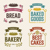 Retro Bakery Labels — Stock Vector