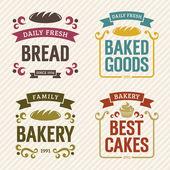 Retro Bakery Labels — Stock Vector