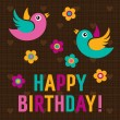 Happy Birthday Card with cute birds — Stock Vector