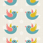 Fabric Background with cute birds — Stock Vector