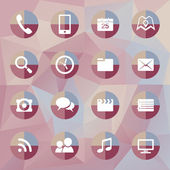 Mobile  icons on polygonal background — Vecteur