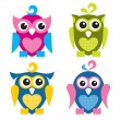 Cute Owls — Stock Vector