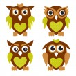 Cute Owls 2 — Stock Vector