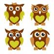 Cute Owls 2 — Stock Vector