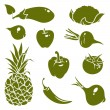 Fruits vegetables silhouettes — Stock Vector