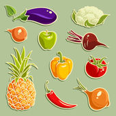 Fruits and Vegetables vector set 2 — Stock Vector