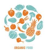 Вектор органические продукты питания — Cтоковый вектор