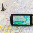 Stock Photo: GPS navigation calculating trip to Paris