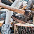 Axe with chopped logs — Stock Photo