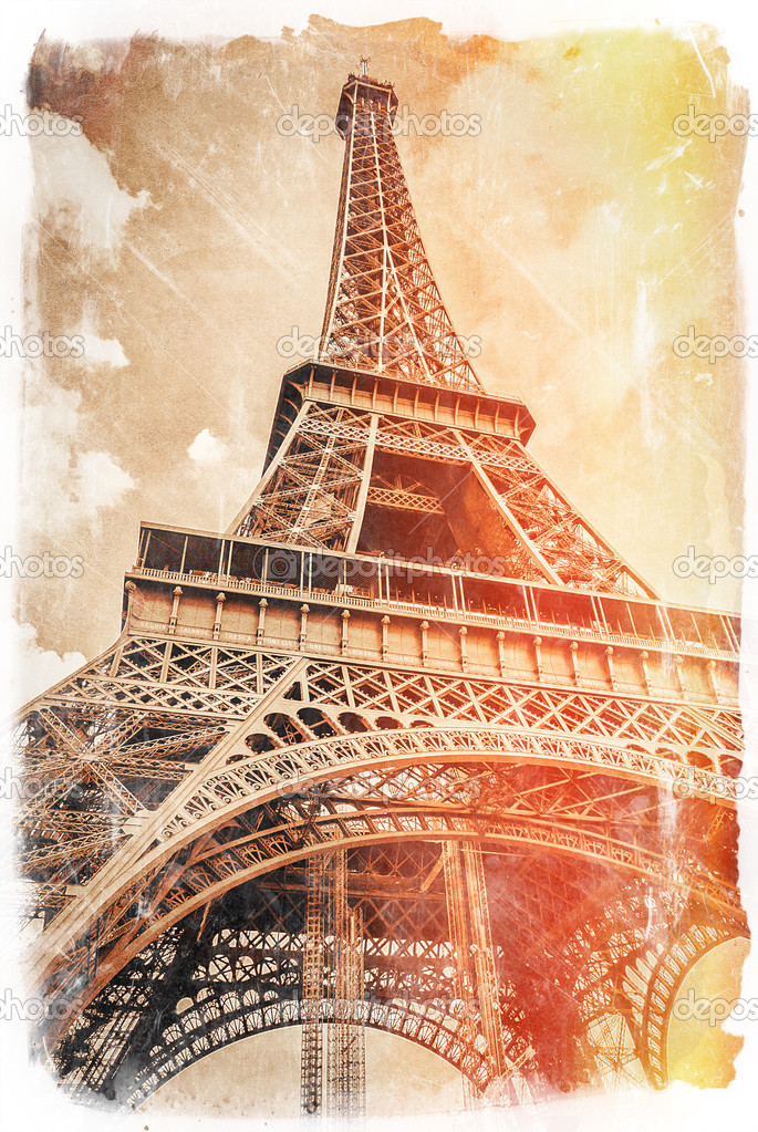 Vintage postcard of Eiffel tower, most popular monument in Paris.  Stock Photo #12761218