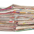 Stack of magazines on white — Stock Photo