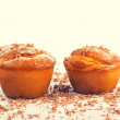 Vanilla muffins served with chocolate pieces — Stock Photo