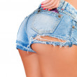Sexy woman in jeans shorts with condom in back pocket - Stock Photo