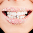 Pierced tongue licking lips close up — Stock Photo