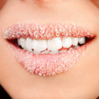 Woman lips cute sweet candy closeup — Stock Photo