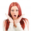 Excited redhead girl — Stock Photo